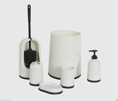 6pc White Bathroom Accessory Set Bin Soap Dispenser Toilet