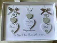 Handmade Personalised Boxed Silver Wedding Card Engagement Anniversary 25th