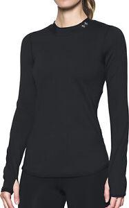 Under Armour ColdGear Womens Running Top Black Long Sleeve Mock Neck Baselayer