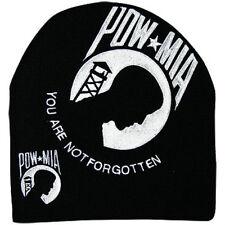 Embroidered Black and White POW MIA Logo Beanie Knit Stocking Cap Skully Hat