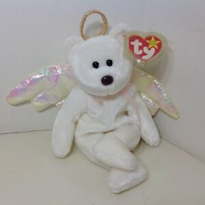 Retired Ty Beanie Baby MWMT HALO Angel Bear Iridescent Wings  ebad6fc0a9fa