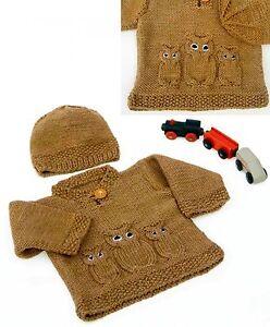 Image is loading 795-Baby-Aran-Knitting-Pattern-Owl-Sweater-and- 30b49ba809cf