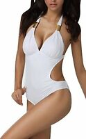 Ladies Lovely Padded White Swimsuit/monokini With Metal Trim Feature Size 10-14