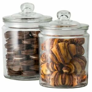 Kook Glass Storage Canister, Clear Jar, With Clear Glass Lid- 1/2 Gallon (Set Of