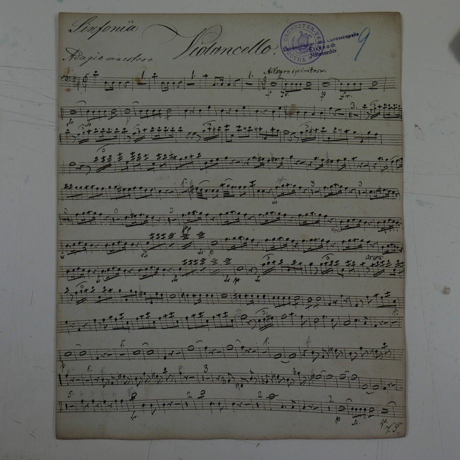 Antique music manuscript MOZART posthorn serenade in D kv 320 cello part