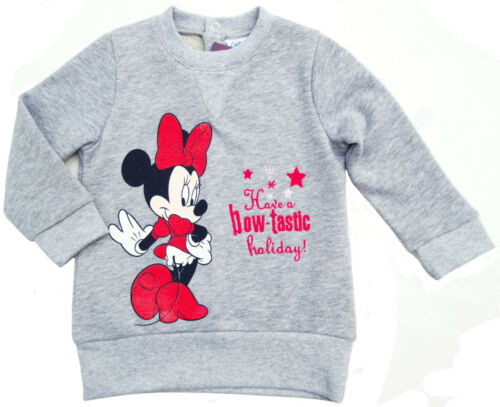 Disney Minnie Mouse Sweatshirt Pullover Pulli Glitzer grau Gr NEU 80 86 92