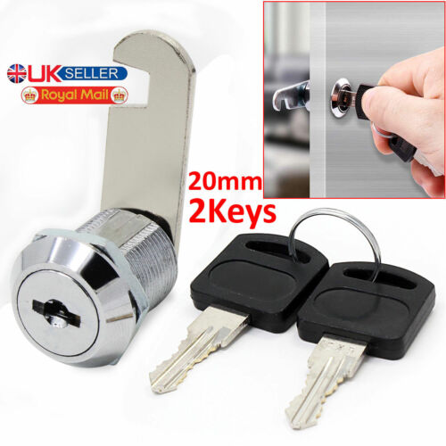 Cam Lock for Door Cabinet Mailbox Drawer Cupboard 16mm 20mm or 25mm 2Keys New