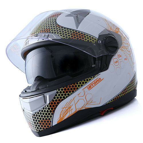 1STorm Motorcycle Bike Dual Visor Full Face Helmet Element  White S M L XL XXL