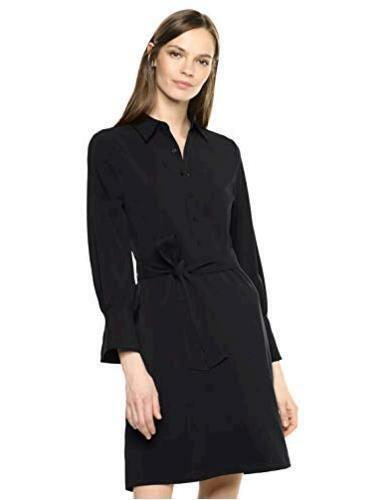 Brand Size 4.0 Lark /& Ro Women/'s Long Sleeve Tie Waist Stretch Black