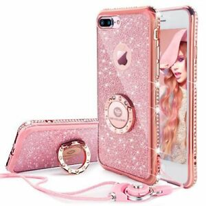 wholesale dealer 6ee44 1fb4e Details about iPhone 7 Plus Case Glitter Phone Girls with Stand Ring Bling  Diamond Shockproof