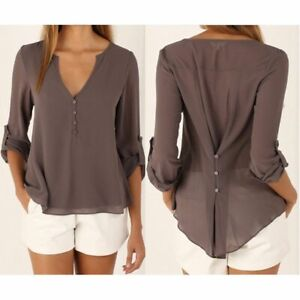 Fashion-Women-039-s-Ladies-Summer-Loose-Chiffon-Tops-Long-Sleeve-Shirt-Casual-Blouse