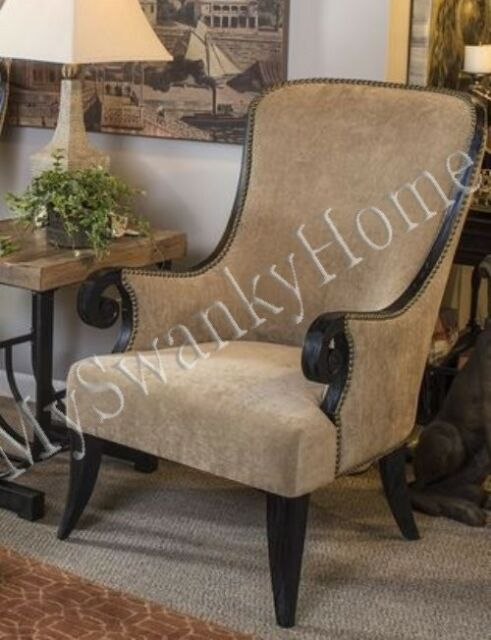 Luxe Beige VELVET Arm Chair SCROLL Solid Wood Taupe Brown Unique Accent Side