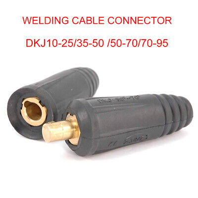 DKJ Series European Style Welding Cable Quick Connector Male Plug and Panel Socket Quick Fitting Adapter DKJ10-25 Black