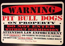 "Metal Warning Pit Bull Dogs On Property Dog Sign For FENCE ,Beware Of Dog 8""x12"""