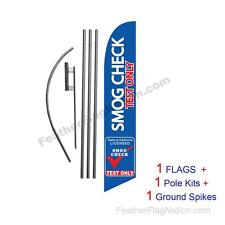 Smog Check Test Only 15' Feather Banner Swooper Flag Kit with pole+spike