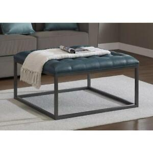 Peachy Details About Square Coffee Table Ottoman Tufted Upholstered Teal Leather Metal Oversized New Squirreltailoven Fun Painted Chair Ideas Images Squirreltailovenorg