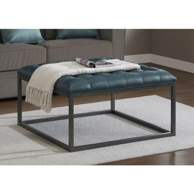 Square Coffee Table Oversized Ottoman Tufted Upholstered Teal Leather Metal  Wood