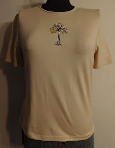 ST-JOHN-SPORT-T-Shirt-Marie-Gray-Beige-Top-Palm-Embroidery-Monkey-Charm-S