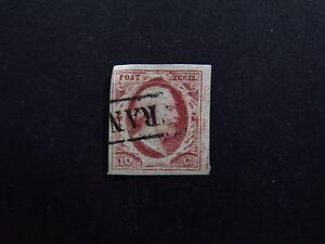 Stamp-Postzegel-Nederland-Netherlands-Franco-Koning-Willem-III-Red-Used-O