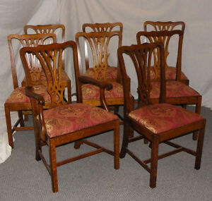 Ordinaire Image Is Loading Set Of 8 Matching Antique Oak Dining Chairs