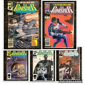 PUNISHER-1-5-COMPLETE-LIMITED-MINI-SERIES-1-Newsstand-Marvel-Comics-MCU