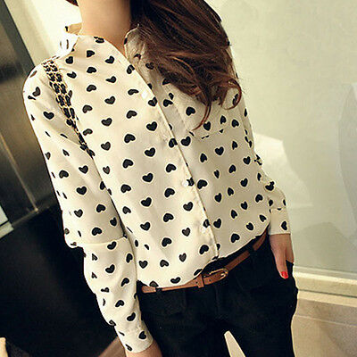 Fashion Women Chiffon Long Sleeve Shirt Lady Sweet Love Heart Blouse Lovely Tops