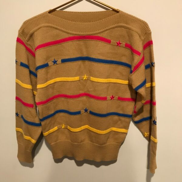 2f493bd935f6ea Vintage Women s Dona Marie Brown Sweater w Colorful Stripes and Stars ~  Size M