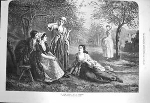 Original Old Antique Print 1872 Love Spell Ladies Women Forest Trees Chester
