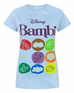 Disney-Bambi-Motif-Blue-Women-039-s-T-Shirt
