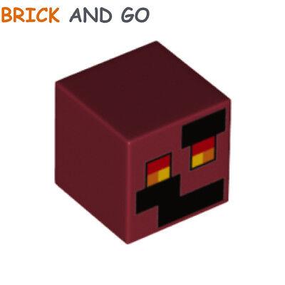 Head Cube Magma New New 1 x Lego 29923 Head Minifigure Minecraft Dark Red