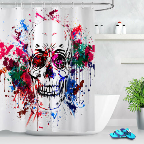 Watercolor Splash Halloween Skull Shower Curtain Set Bathroom Fabric w//12 Hooks