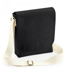 Canvas-Messenger-Bag-Westford-Mill-Fairtrade-Mini-Messenger-Black-Pale-Strap
