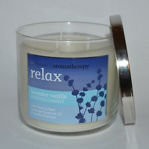 BATH-amp-BODY-WORKS-AROMATHERAPY-RELAX-LAVENDER-VANILLA-CANDLE-3-WICK-14-5OZ-LARGE