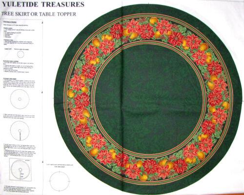 Christmas Tree Skirt Fabric ~ 100% Cotton 35 Project Panel ~ VIP Yuletide Green