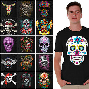 Sugar-Skulls-T-SHIRT-Day-Of-The-Dead-Shirts-Halloween-Dia-De-Los-Muertos-BLACK