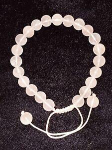 Bracelet with Natural Gemstone Agate Pink 8mm Bead Macrame Healing Reiki UKsell