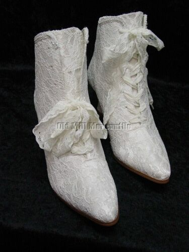 Ladies Victorian Boots & Shoes Victorian Wedding boots Edwardian Granny style lace boots size 6-12 ivory color $68.84 AT vintagedancer.com