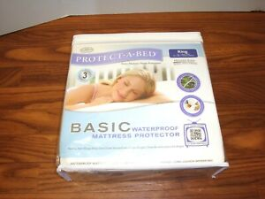 AllerZip Basic Waterproof Mattress Protector by Protect-A-Bed King Sz NEW
