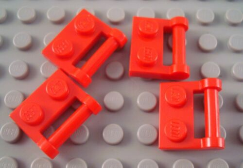 New LEGO Lot of 4 Red 1x2 Bar Handle Plate Pieces