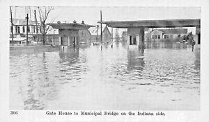 LOUISVILLE-KY-FLOOD-SCENE-GATE-HOUSE-TO-MUNICIPAL-BRIDGE-INDIANA-SIDE-POSTCARD