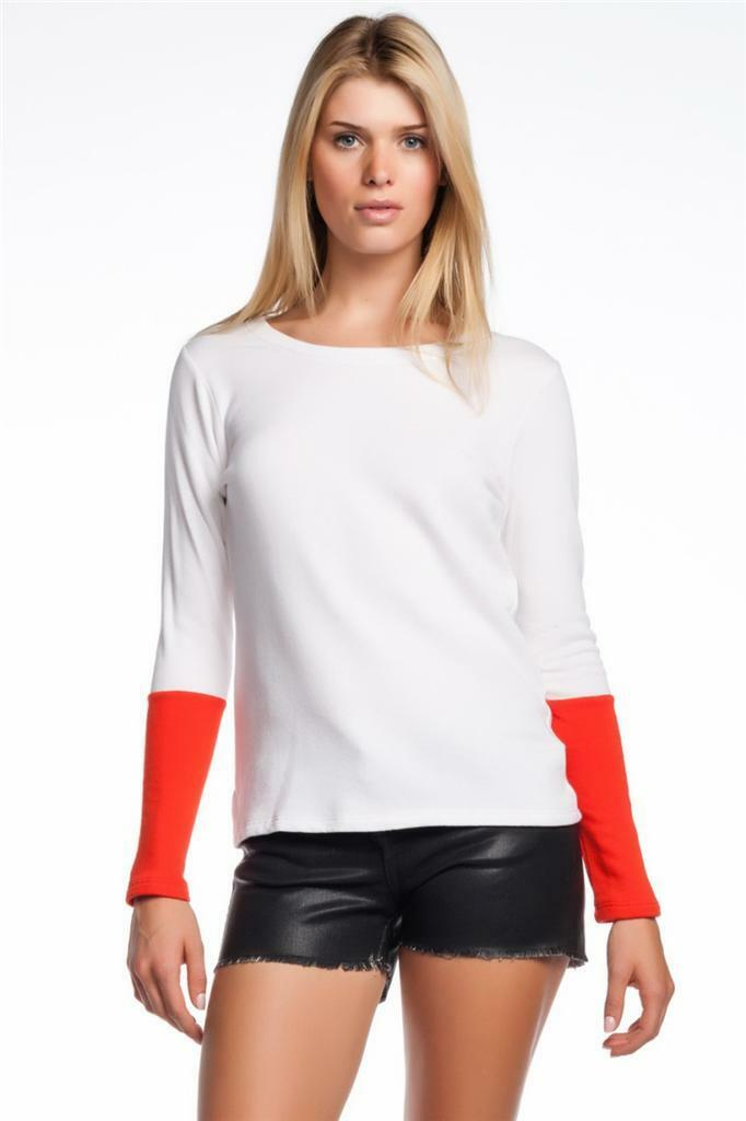 AIKO Weekend Miller Sweatshirt White Ignite French terry top Extended cuffs NEW