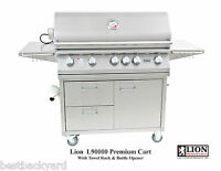 Lion L90000 5 Burner 40 Gas Grill On A Stainless Steel Cart