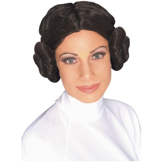 Princess Leia Costume Wig Star Wars Adult Womens Dark Brown with Buns Halloween