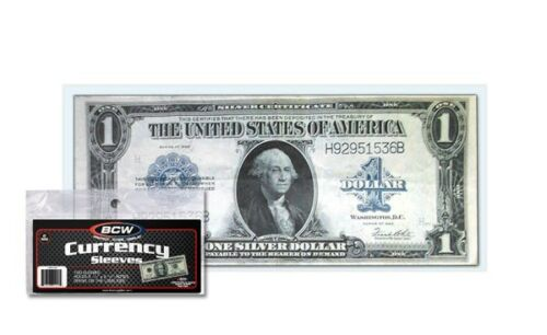 1800 BCW Large Bill Currency 2-Mil Acid Free Soft Poly Sleeves covers protectors