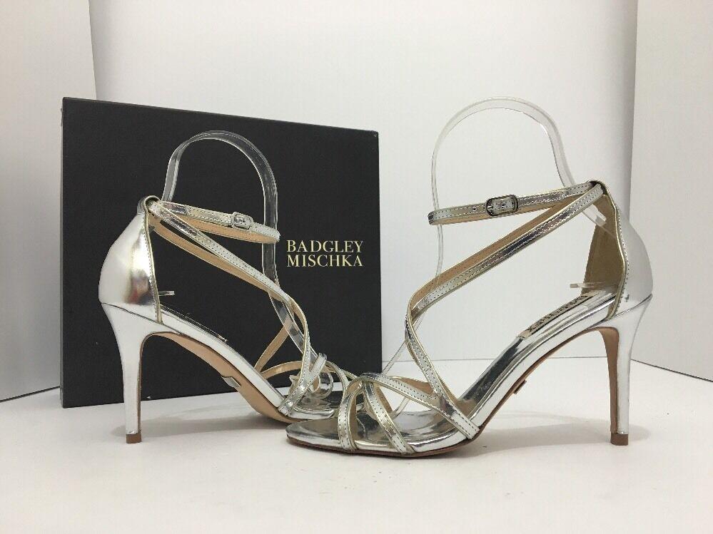 Badgley Mischka Lillian Silver Metallic Leather Women's Evening High Heels 5.5 M