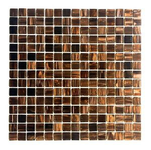 34 X 34 Copper Gold Glimmer Glass Mosaic Tile Backsplash Kitchen