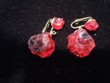 Vintage Red Chunky Bakelite Plastic Clip Earrings