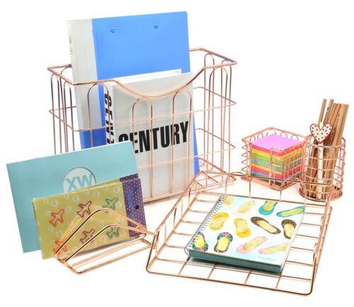 Desk Organizer Set Fancy Wire Metal Tray Pencil Holder Letter Rose Gold 5 pack