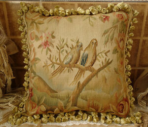18-034-Vintage-Antique-Reproduction-Heirloom-Treasure-Birds-Aubusson-Pillow-B