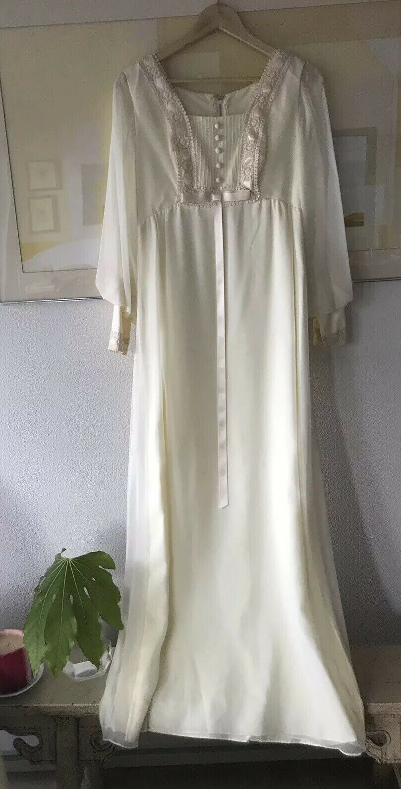 Vintage Sweet 60s 70s Weiß Ivory Boho Long Sleeve Lace Dress Wedding Maxi Gown
